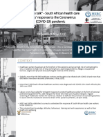 Results of HSRC Study on South African Healthcare Workers Mental Health and Covid 19