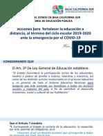 ACCIONES DE BCS PARA CIERRE DEL CICLO ESCOLAR 2019-2020