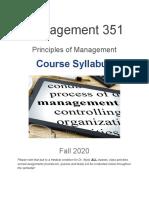 Syllabus - Management 351 - Professor David Wyld, Southeastern Louisiana University