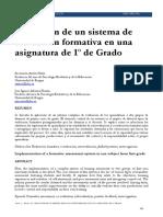 Aplicación de un sistema evaluación formativa en una signatura de 1° grado