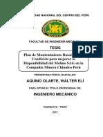 TESIS. Plan de Mantenimiento Basado en la Condición para mejorar la Disponibilidad del Molino SAG en la Compañía Minera Chinalco Perú
