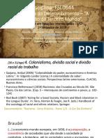 Sociologia da educação - Colonialismo, divisão social e divisão racial do trabalho (2019) Slides