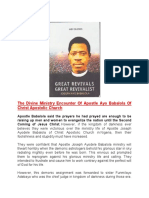 The Divine Ministry Encounter Of Apostle Ayo Babalola Of Christ Apostolic Churc1
