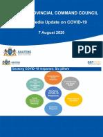 GAUTENG PROVINCIAL COMMAND COUNCIL Media Briefing Presentation by Premier David Makhura - 7 August 2020