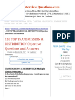 110 TOP TRANSMISSION & DISTRIBUTION Objective Questions and Answers Electric