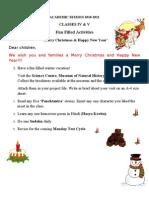 Class 4 & 5 Winter Holiday Homework