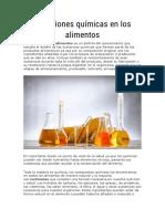 Reacciones químicas en los alimentos