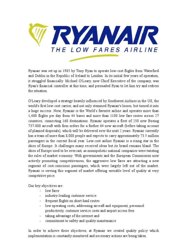 ryanair objectives