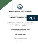 estudio y analisis del uso de la POLIALFAOLEFINA en un fluido drill-in para lograr disminuir el dano a la formacion