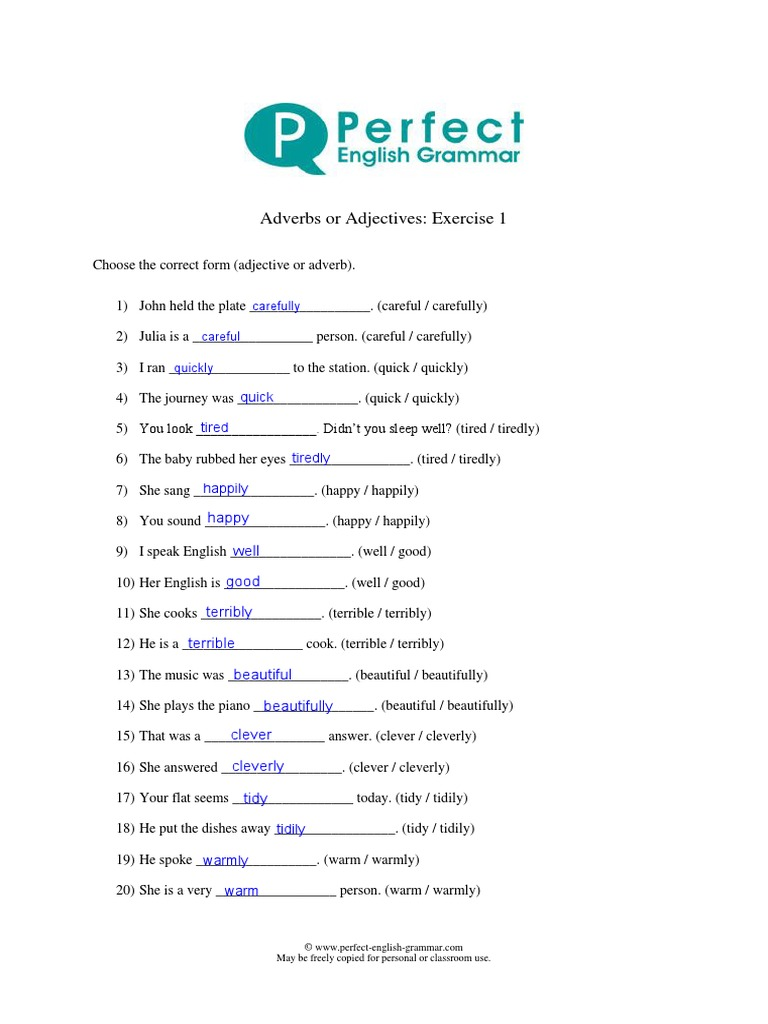 Adverbs or Adjectives Exercise 20 Done   PDF   Adverb   Semantics