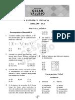 Anual UNI Cesar Vallejo 2012 - 00 Examen de Entrada