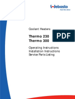 Coolant Heaters Thermo 230 Thermo 300 Operating Instructions, Installation Instructions, Service Parts Listing