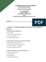 EXAMEN SEGUNDO PARCIAL FILOSOFÍA DE LA EDUCACIÓN I EDM3A