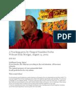 A Teaching given by Chögyal Namkhai Norbu