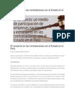 El consorcio en las contrataciones con el Estado en el Perú