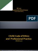 GE-112 P&EI Week 4 CS&SE Code of Ethics & PP