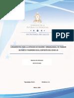 Lineamiento atención de embarazadas y COVID19 Honduras