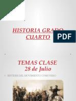 HISTORIA GRADO CUARTO sintesis del movimiento comunero