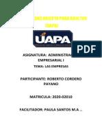 Administracion de empresas Tarea 3