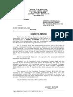 SAMPLE SHERIFF'S RETURN WRIT OF EXECUTION
