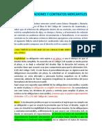 DE LAS OBLIGACIONES Y CONTRATOS MERCANTILES. clase 1
