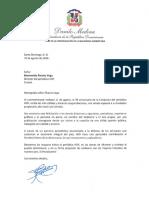 Carta de felicitación del presidente Danilo Medina con motivo del 39 aniversario del periódico Hoy
