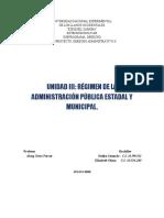 UNIDAD III RÉGIMEN DE LA ADMINISTRACIÓN PÚBLICA ESTADAL Y MUNICIPAL.