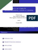 TEST DE STABILITES CUSUM/CUSUMSQ et Quandt-Andrews