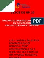 BALANCE C.N.E. - PROYECTO EDUCACTIVO NACIONAL