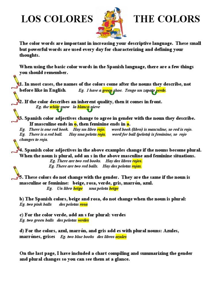 Colorwordsinspanish Grammatical Gender Noun