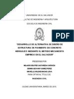 Desarrollo de Alternativa de Diseño de Estructura de Pavimento de Concreto Hidráulico Mediante El Método Mecanicista Empírico en El Salvador