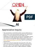 Appreciative Inquiry - One Hour Interactive Overview