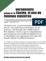 Des gouvernements Debré à Castex, si peu de femmes ministres - Libération