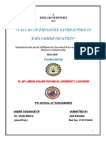 A STUDY OF EMPLOYEE SATISFACTION IN TATA COMMUNICATION