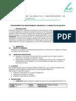 PROCEDIMIENTO DE MANTENIMIENTO Y CALIBRACION