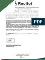 POLITICAS DE NO CONSUMO DE ALCOHOL Y NO CONSUMO DE SUSTANCIAS PSICOACTIVAS