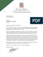 Carta de condolencias del presidente Danilo Medina a Josefina Miniño viuda Molina por fallecimiento de su esposo, Ramón Antonio Molina Pacheco (Papa Molina)