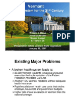 Vermont Report Recommends Single Payer System - Presentation to the State Legislature