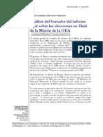 Análisis del borrador del informe final sobre las elecciones en Haití de la Misión de la OEA
