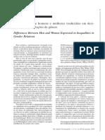 a diferença entre homens e mulheres traduzidas em desigualdades nas relações de genero