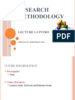 Lecture#01 Research Methodology