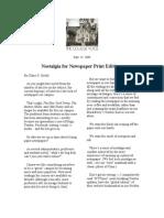 Nostalgia for Newspaper Print Editions