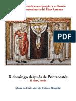 X Domingo Despues de Pentecostes. Propio y Ordinario de la santa misa