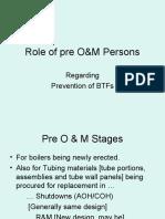 role of pre O&M