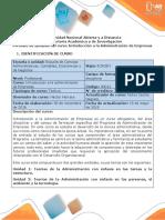 Syllabus del curso Introducción a la Administración de Empresas