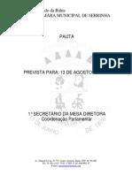 Pauta da 4ª Sessão Ordinaria do 2° Periodo Legislativo de 13 de  agosto de 2020