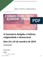 IV Seminário Religião e Política_ religiosidade e democracia _ Departamento de História da PUC-Rio