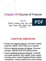 Chapter 25-Sources of Finance