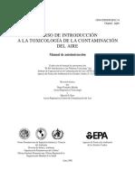 Toxicologia de contaminacion del aire