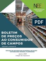 Boletim de Preços ao Consumidor de Campos, RJ, agosto, v.4 n. 8, 2020